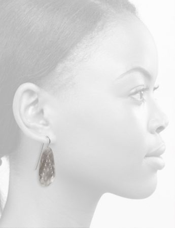 Large Embossed Drop Earrings – Matte Silver