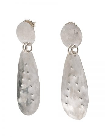Large Embossed Drop Stud Earrings - Polished Silver