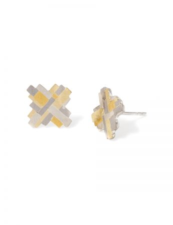 Large Raw Terrain Cross Stud Earrings - Gold & Silver