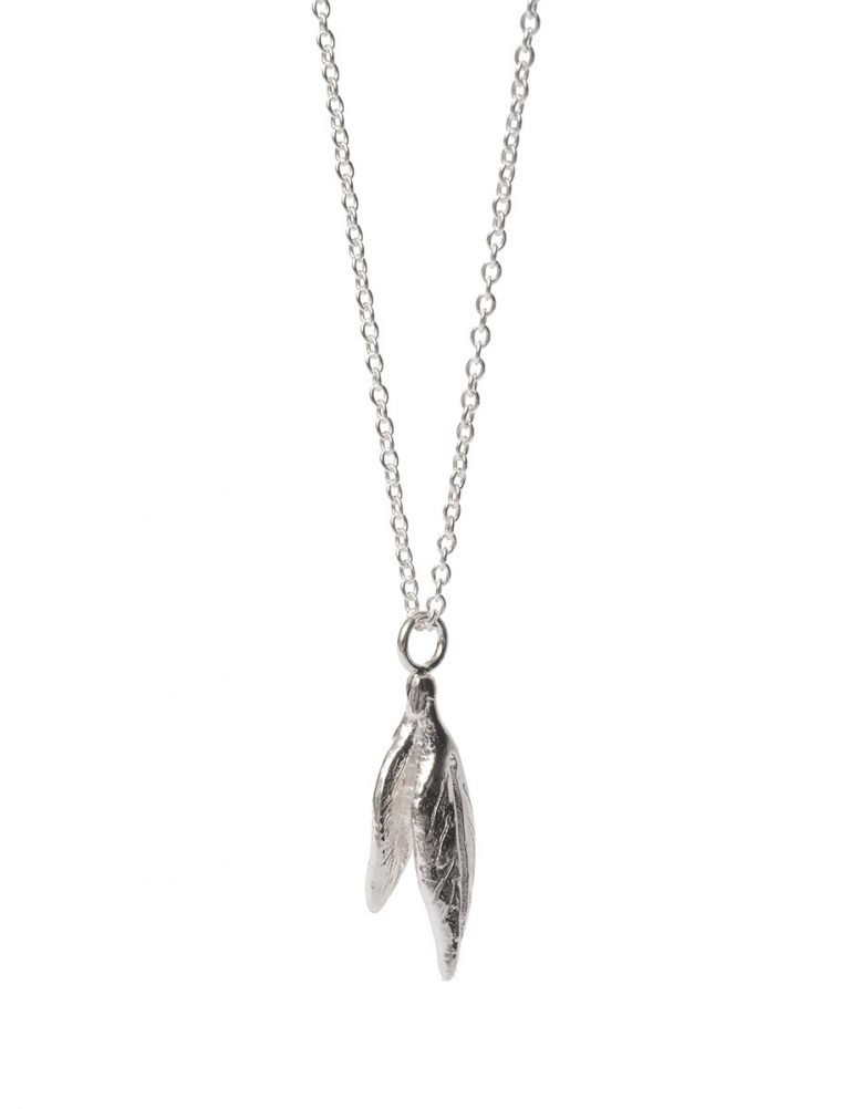 Leaf Charm Necklace – Silver