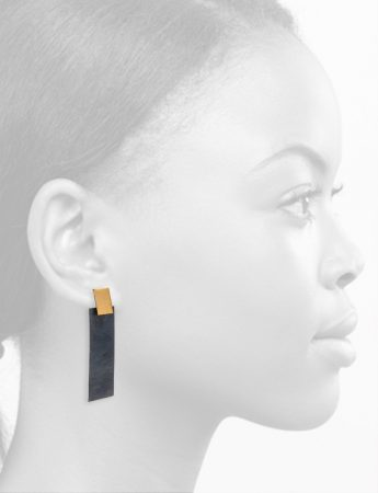 Medium Waves Rectangle Earrings - Black & Gold
