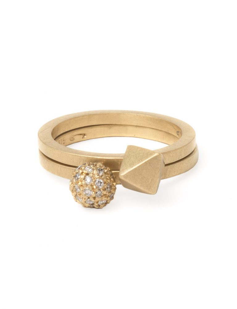 Daylight Micro Sphere Ring – Yellow Gold and White Diamonds