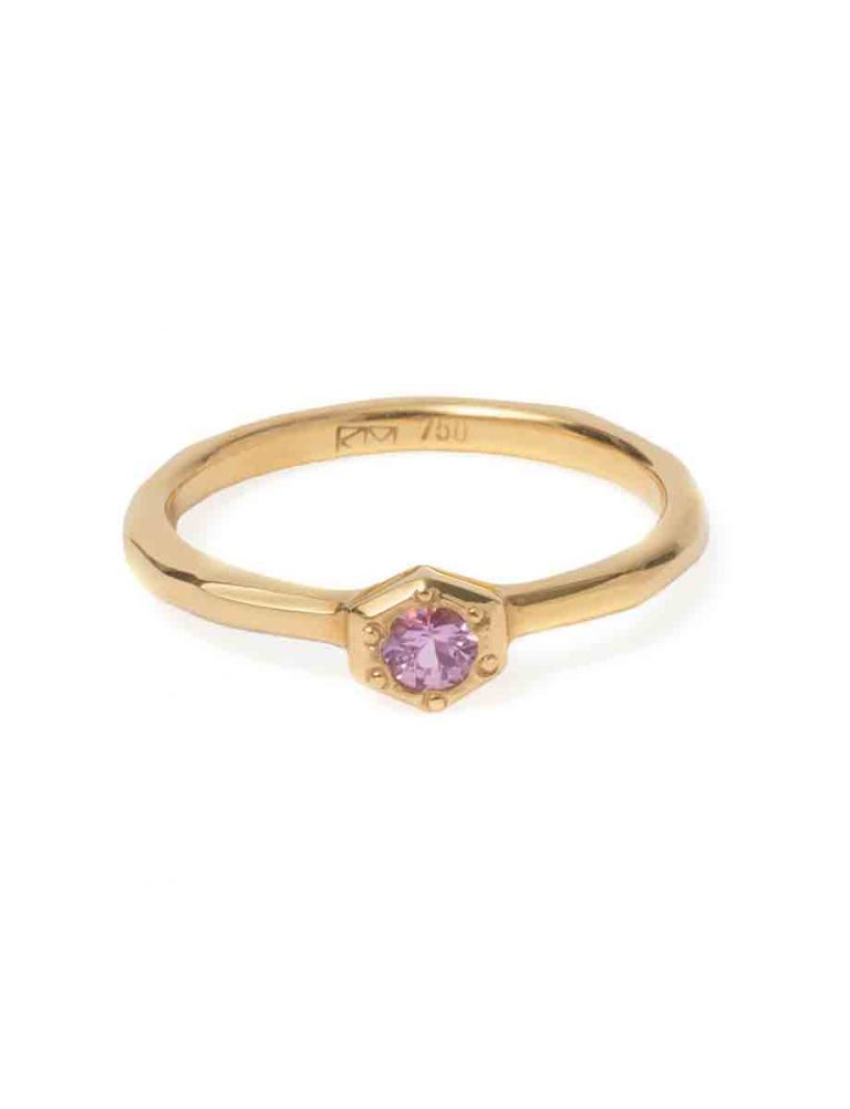 Morning Star Ring – Rose Gold with Pink Sapphire