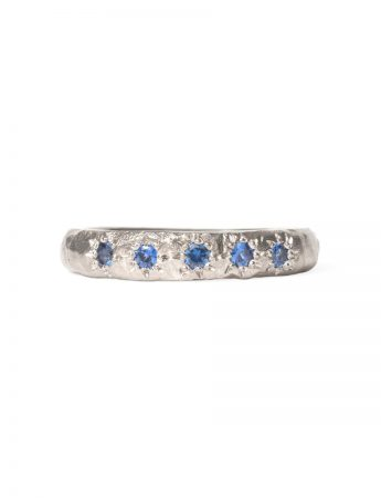 Blue Sapphire Mountain Ridge Ring - White Gold
