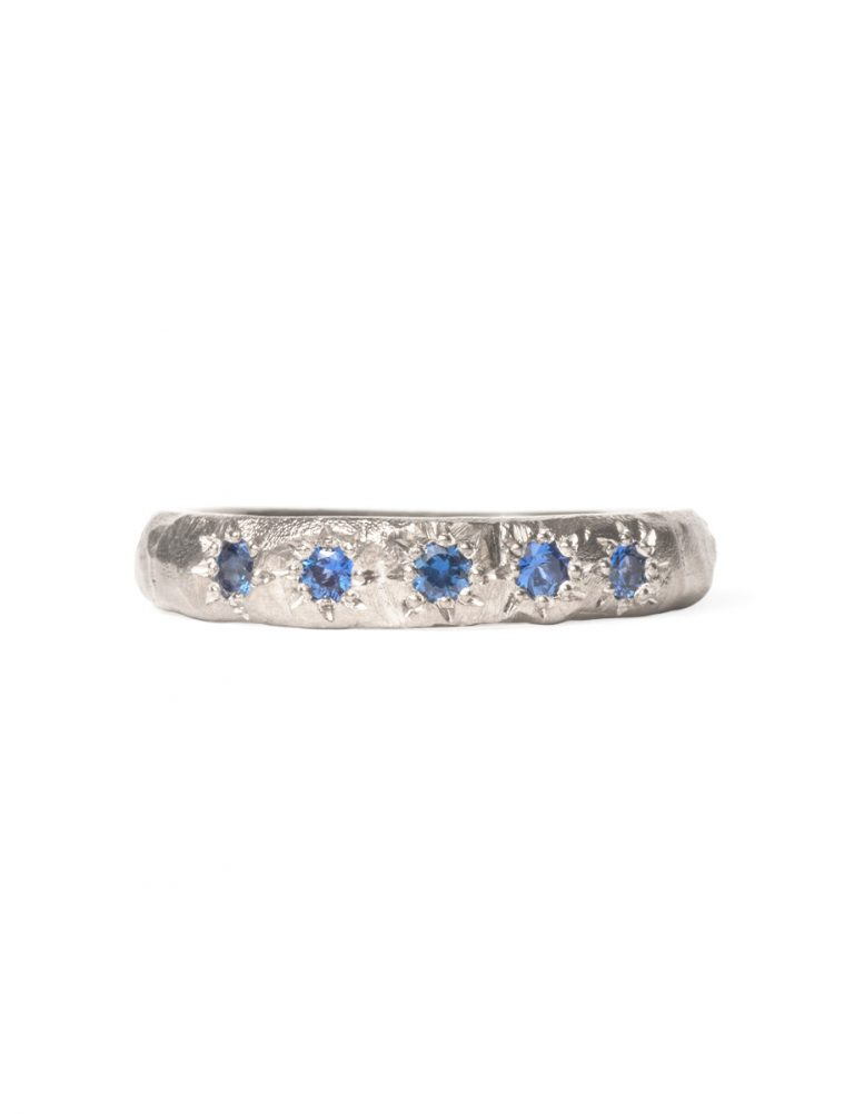 Blue Sapphire Mountain Ridge Ring – White Gold