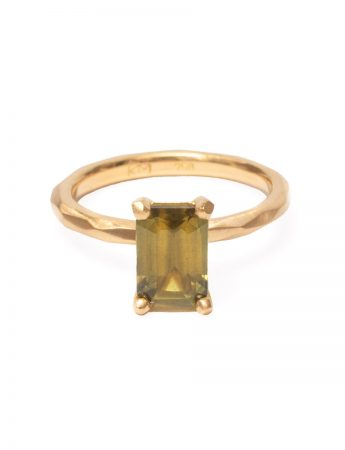 Olive Green Emerald Cut Sapphire Ring
