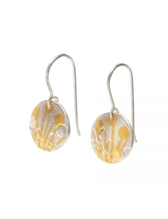 Oval Wattle Hook Earrings - Silver & Gold