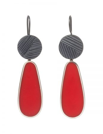 Pattern Hook Teardrop Earrings - Red