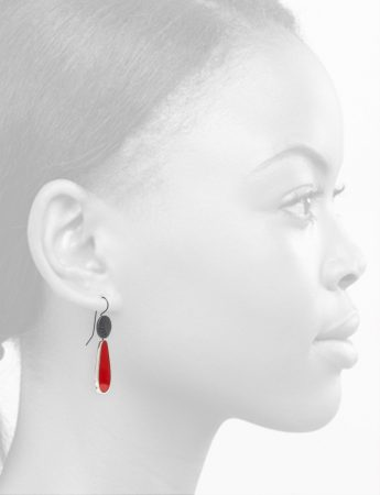 Pattern Hook Teardrop Earrings – Red