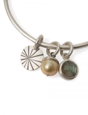 Pearl Labradorite and Fan Shell Charm Bangle - Silver