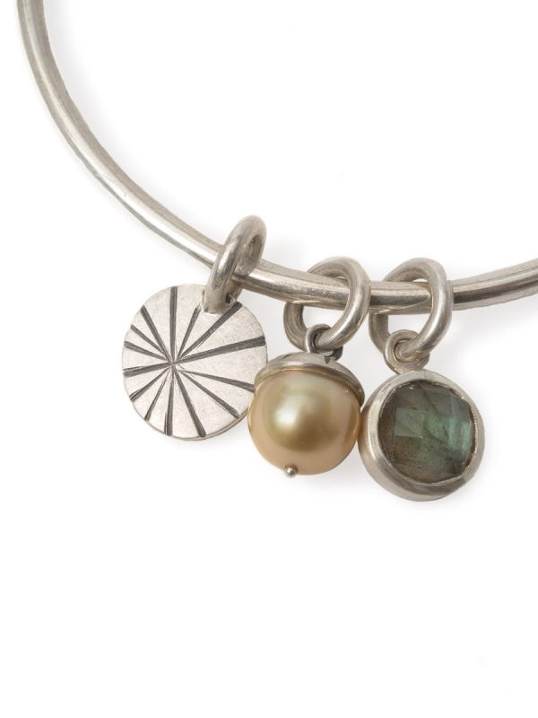 Pearl Labradorite and Fan Shell Charm Bangle – Silver