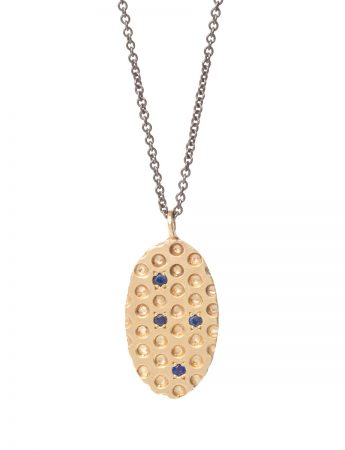 Gold Perforated Pendant Necklace - Sapphire