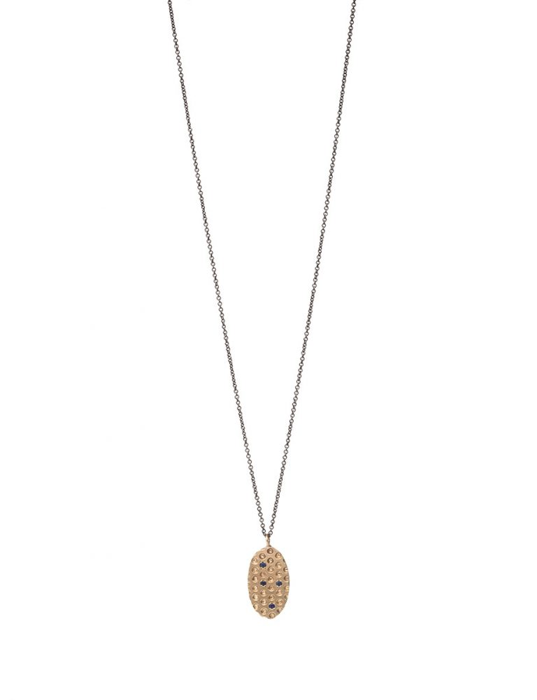 Gold Perforated Pendant Necklace – Sapphire