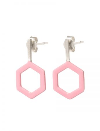 Hexagon & Silver Line Earrings - Pink