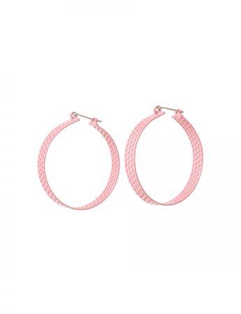 Perforated Round Hoop Earrings - Pink