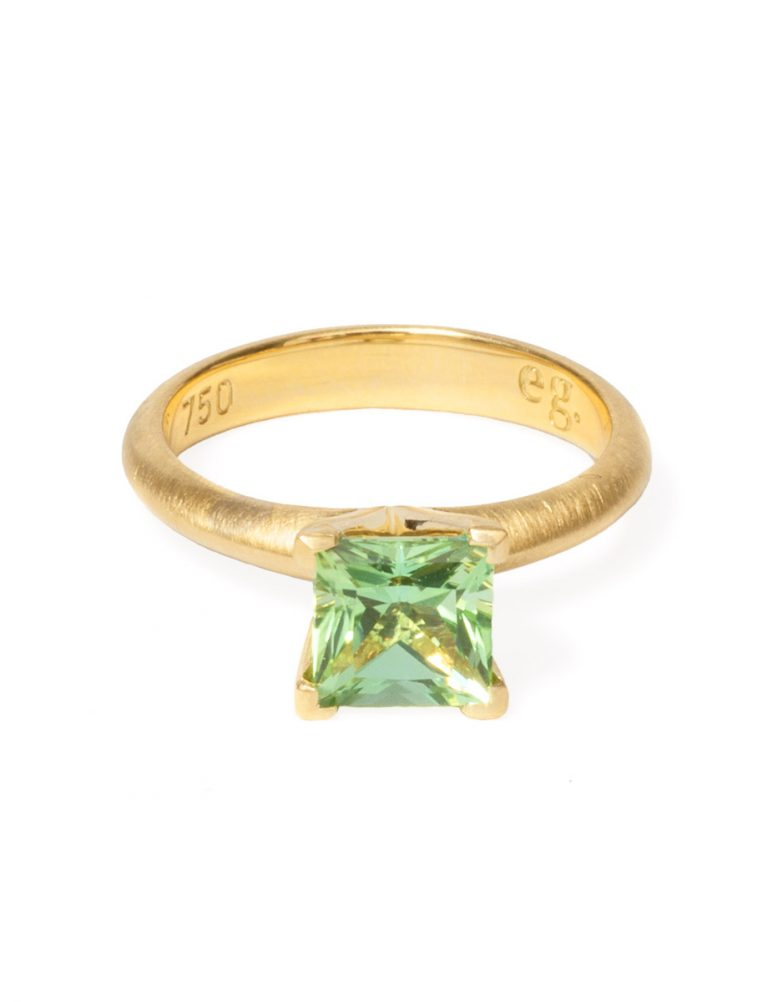 Poet's Ring – Square Green Tourmaline