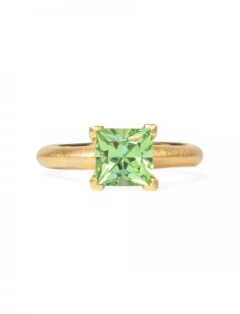 Poet's Ring - Square Green Tourmaline