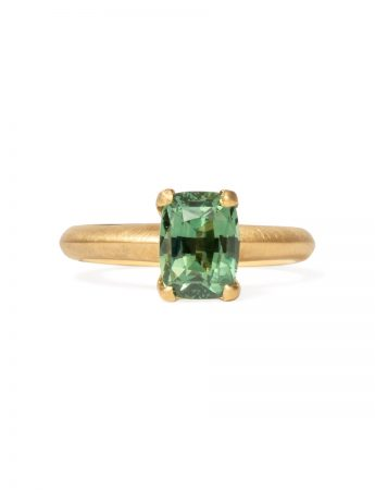 Poet's Ring - Rectangle Green Sapphire