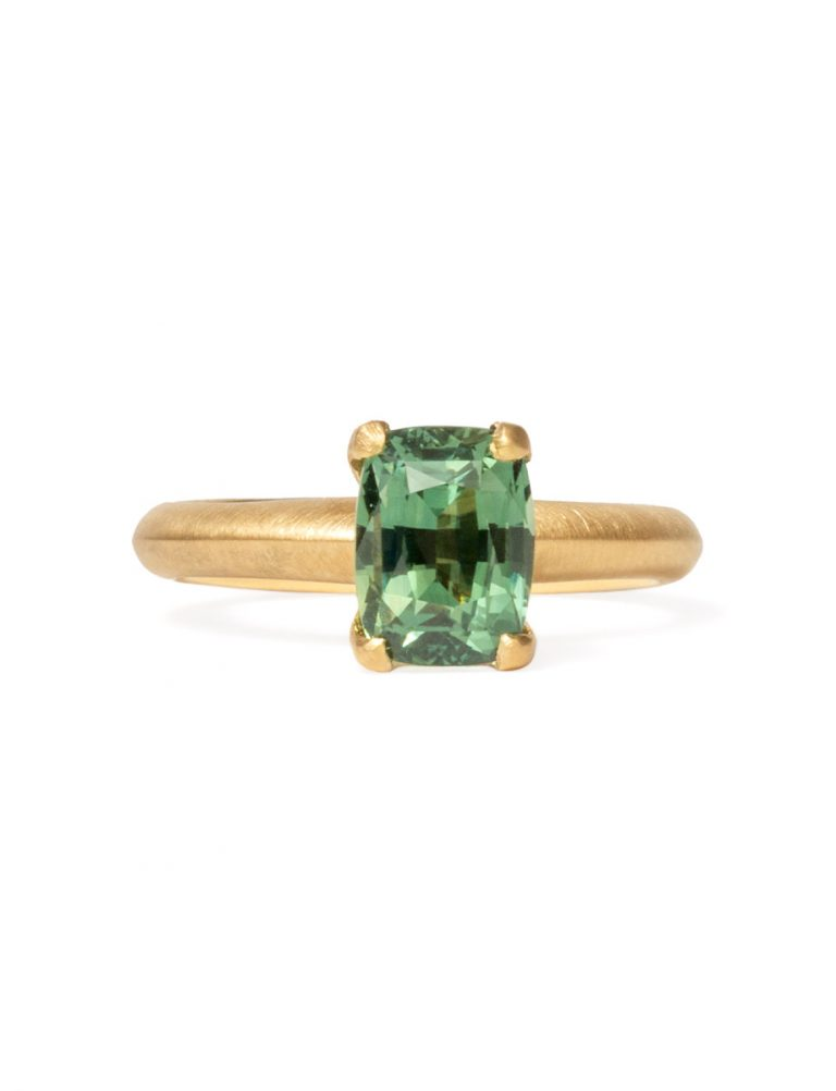 Poet's Ring – Rectangle Green Sapphire