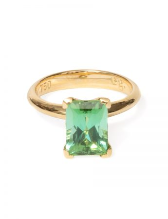 Poet's Ring - Rectangle Green Tourmaline