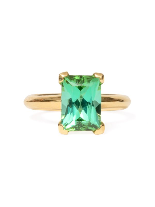 Poet's Ring – Rectangle Green Tourmaline
