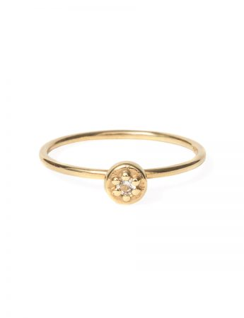Poppy Rock Ring - Gold & White Sapphire