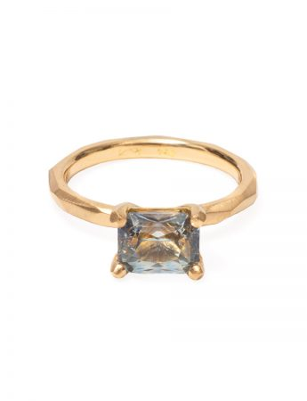 Radiant Cut Madagascan Sapphire Ring - Yellow Gold