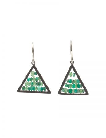 Reef Triangle Earrings - Garnets, Emeralds and Onyx