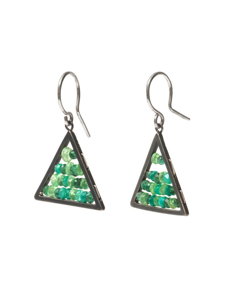 Reef Triangle Earrings – Garnets, Emeralds and Onyx