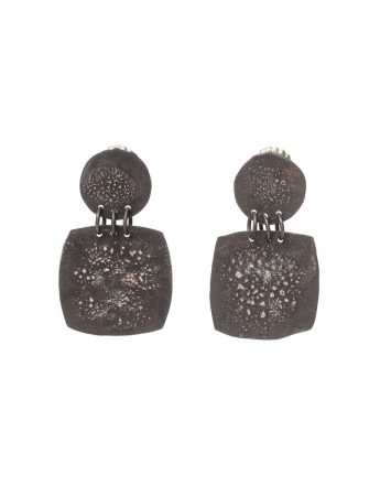 Rounded Square Moonscape Earrings - Black