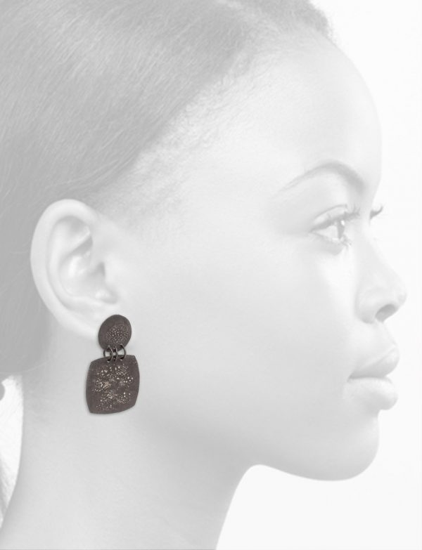 Rounded Square Moonscape Earrings – Black