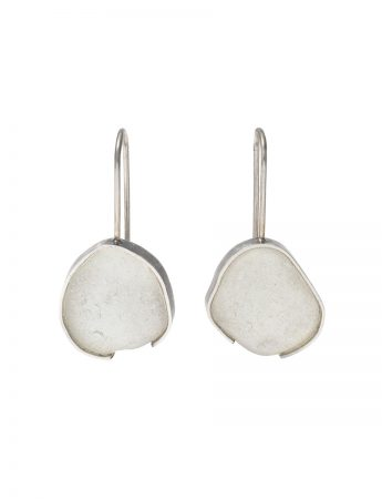 Sea Foam Beach Glass Hook Earrings - Silver