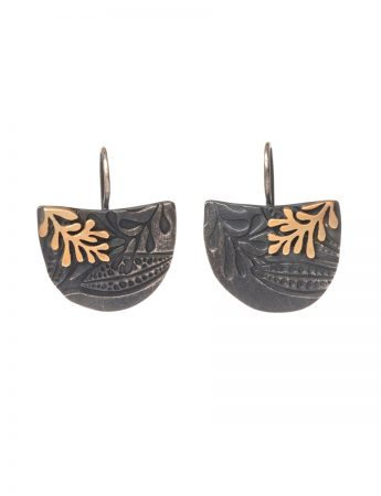 Semi Circle Leaf Imprint Earrings - Black and Yellow Gold