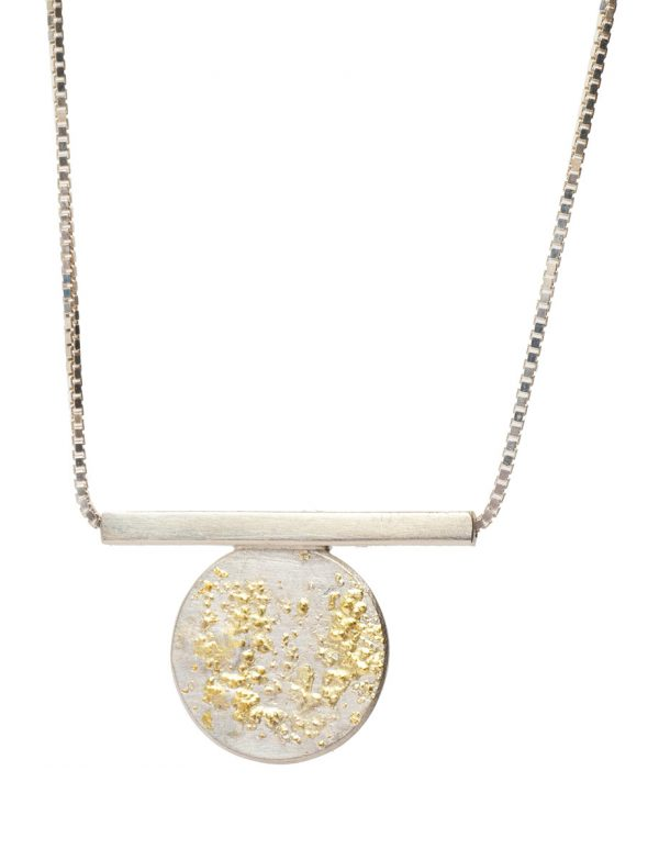 Short Galaxy Circle & Line Necklace – Silver & Gold