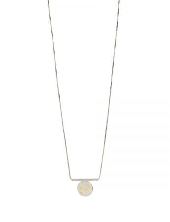 Short Galaxy Circle & Line Necklace - Silver & Gold