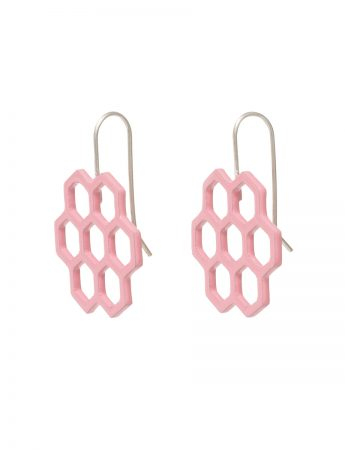 Small Hexagon Honeycomb Earrings - Pink