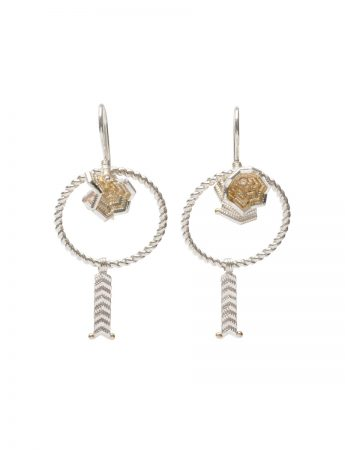 Spring Bloom Drop Earrings - Silver & Gold