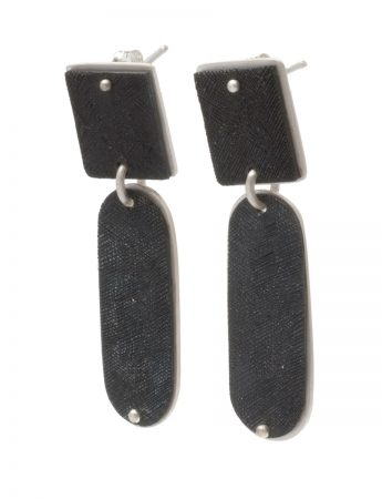 Square Pendant Stud Earrings - Black & Silver