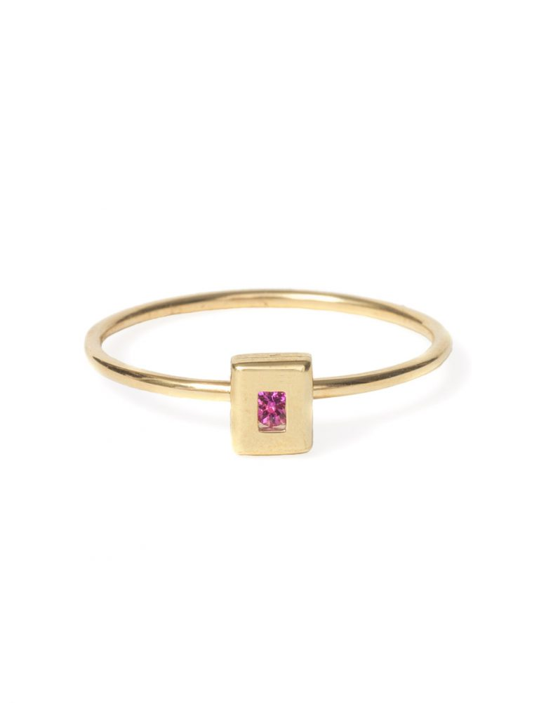 Static Rock Ring – Gold & Pink Sapphire