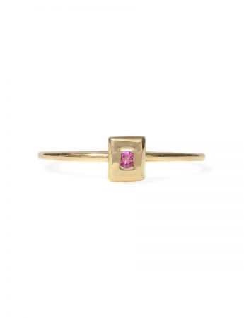 Static Rock Ring - Gold & Pink Sapphire