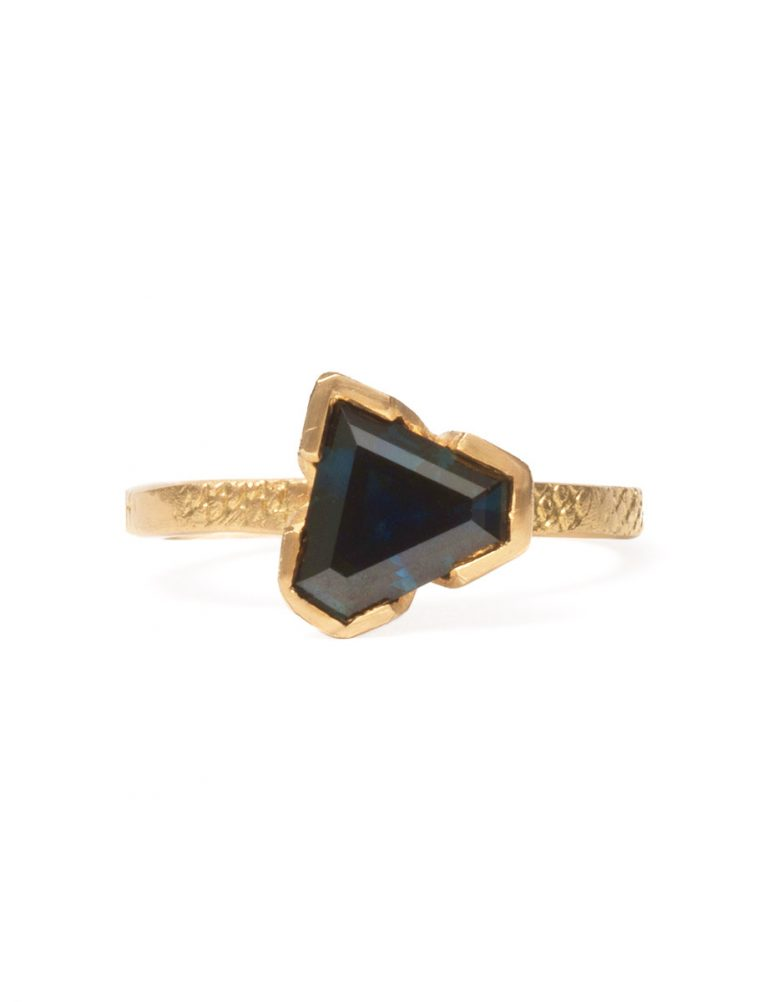 Textura Super Hero Ring – Yellow Gold with Sapphire