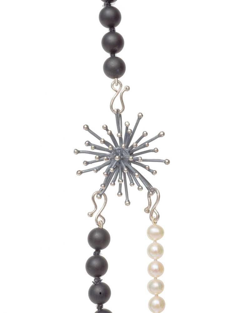 Three Strand Black Necklace – Onyx & Pearl