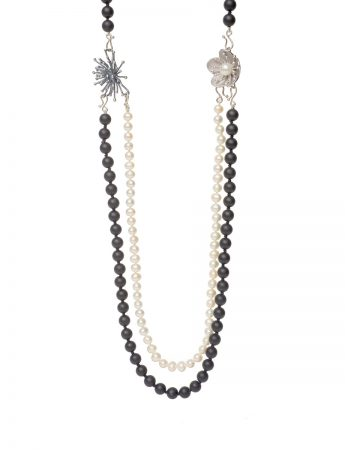 Three Strand Black Necklace - Onyx & Pearl