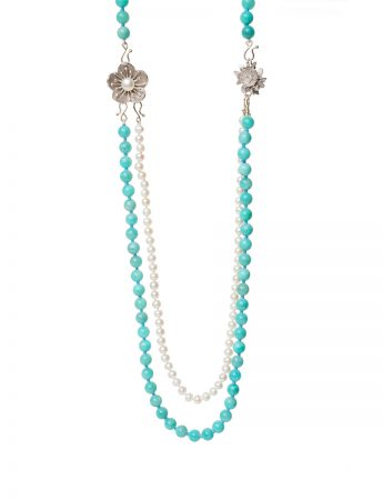 Three Strand Necklace - Amazonite & Pearl