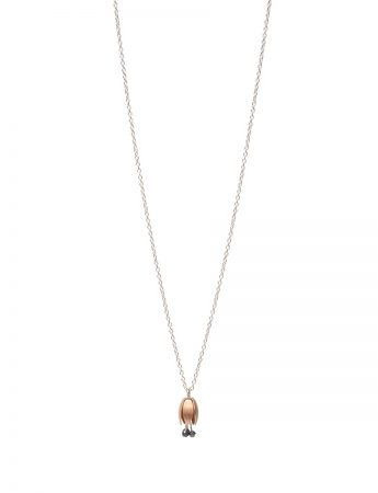 Tiny Floweret Hybrid Pendant Necklace - Rose Gold & Hematite