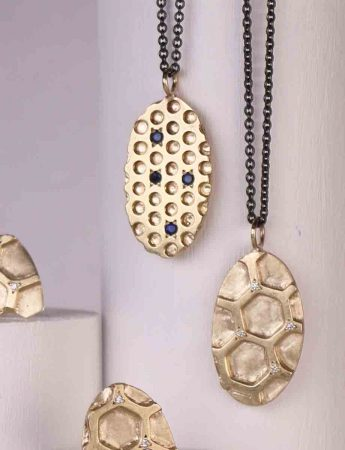 Gold Honeycomb Pendant Necklace - Diamonds