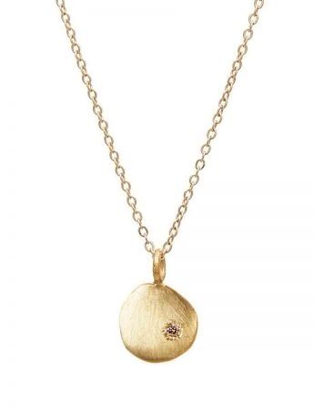 Yellow Gold Neru Mini Disc Charm Necklace – Diamond