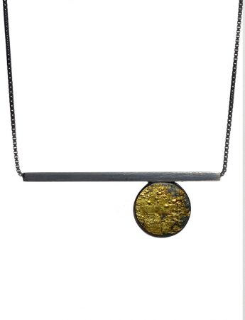 Moonscape Circle & Line Necklace – Black & Gold