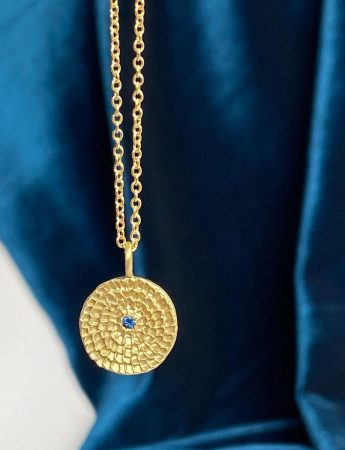 Gold Continuum Necklace - Blue Sapphire