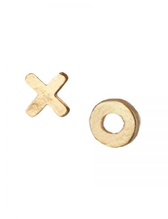 Kiss Hug Stud Earrings - Yellow Gold